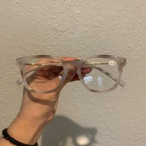 Clear gray white glasses